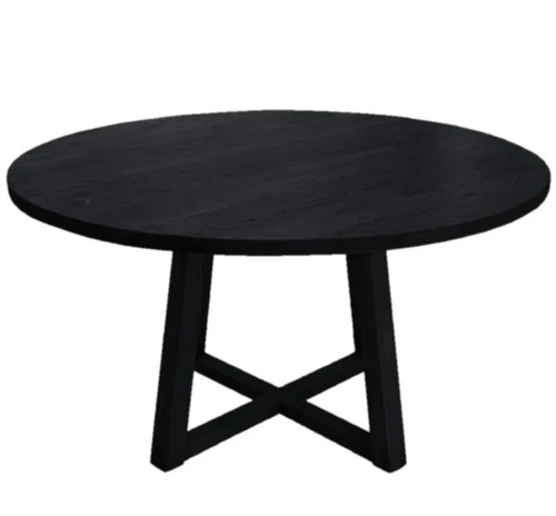 Lei Round Oak Dining Table - Black Dining and Bar Tables Dianna-Lynn Decor