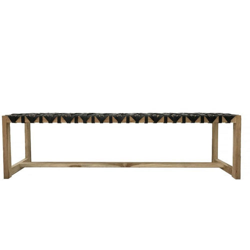 Mahana Long Bench in Black Leather Low Stools and Benches Dianna-Lynn Decor