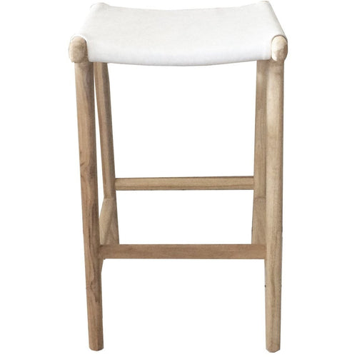 Mapuni Bar Stool White Leather Dining Chairs and Bar Stools Dianna-Lynn Decor