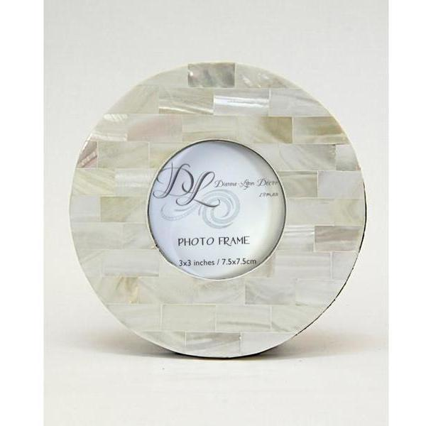 Mother of Pearl Frame White with Silver Inner Border 3x3