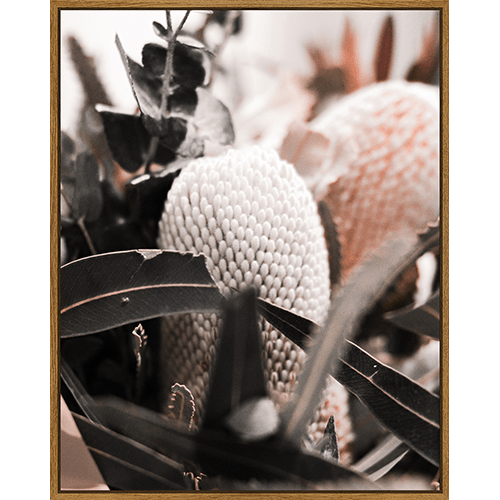 Muted Banksia Pair – Framed Canvas – 80×100