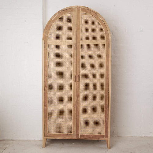 Neveah Rattan and Teak Rounded Wardrobe Cabinets and Consoles Dianna-Lynn Decor