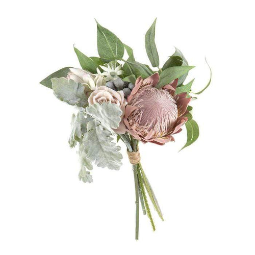 Protea Rose Dusty Miller Mix Bouquet - Pink Artificial Flowers Dianna-Lynn Decor