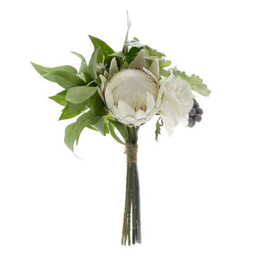 Protea Rose Dusty Miller Mix Bouquet - White Artificial Flowers Dianna-Lynn Decor