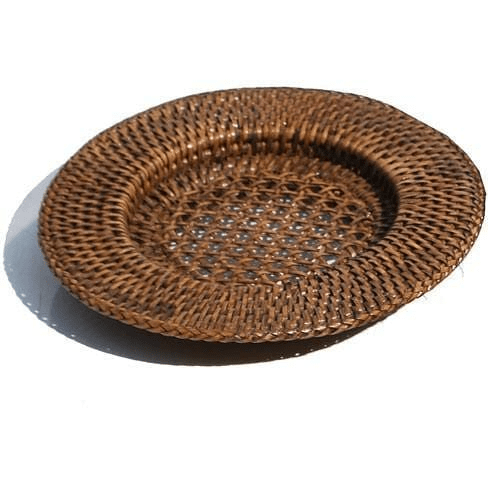 Rattan Candle Underplate - Brown Lanterns and Candle Holders Dianna-Lynn Decor