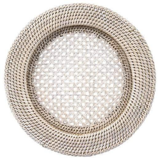 Rattan charger plate - Whitewash 33cmD