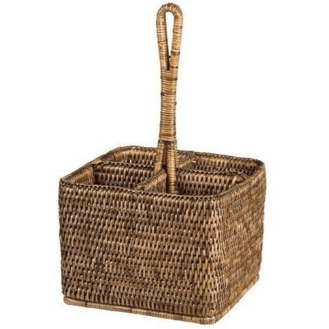Rattan Cutlery Caddy Brown Rattan Homewares Dianna-Lynn Decor