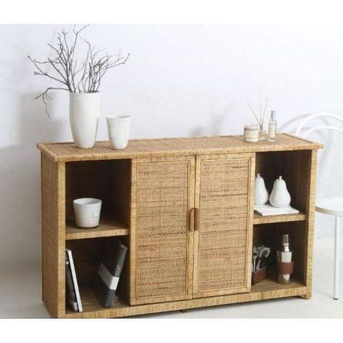 Rattan Weave 2 Door Cabinet Cabinets and Consoles Dianna-Lynn Decor