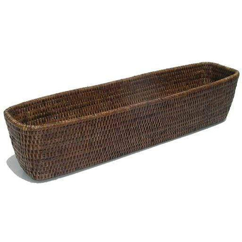 Rectangle Rattan Bread Basket - Brown/Whitewash Rattan Homewares Dianna-Lynn Decor
