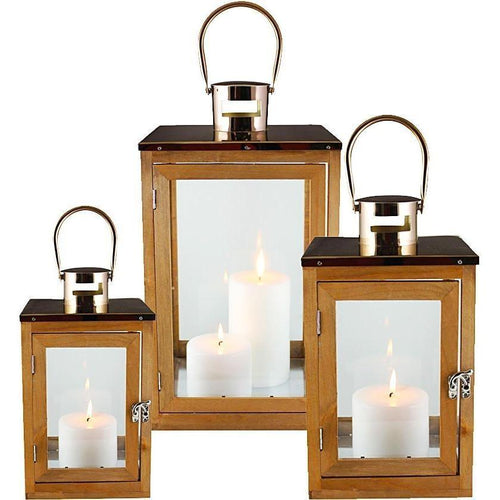 Set of 3 Rose Gold Lanterns 47cmH Lanterns and Candle Holders Dianna-Lynn Decor