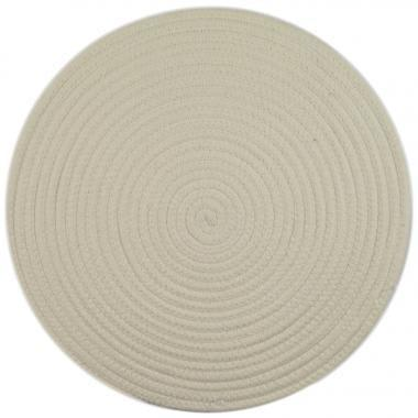 Set of 6, 38cm Round Woven Cotton Placemats-Bleach White Napery Dianna-Lynn Decor