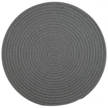Set of 6 38cm Round Woven Cotton Placemats - Light Grey Napery Dianna-Lynn Decor