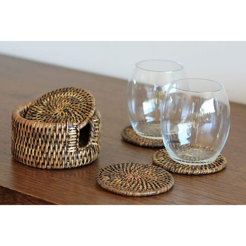 Set of 6 Rattan Coasters - Brown