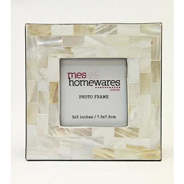 Silver Edge Mother of Pearl Frame White 3×3