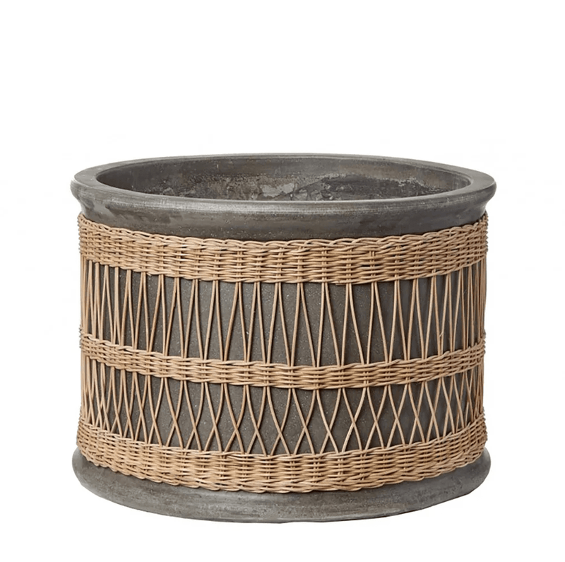 Small Vela Pot with Rattan Weave - Grey