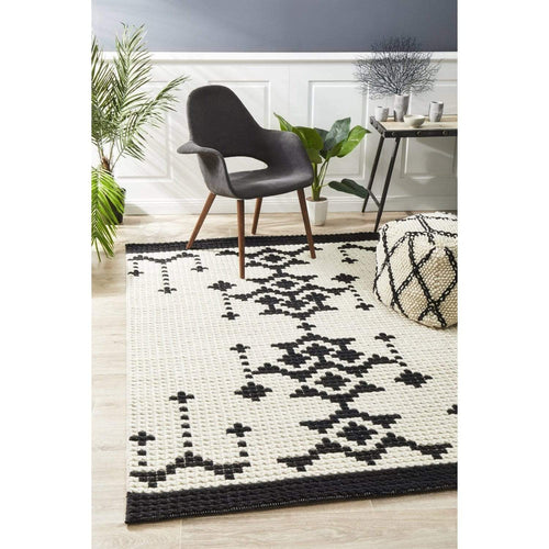 Tala Rug in Black/White or Burgundy Floor Rugs Dianna-Lynn Decor