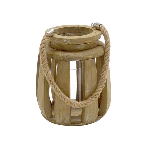 Tino Wooden Lantern with rope handle - Small Lanterns and Candle Holders Dianna-Lynn Decor