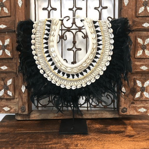Tribal Feather And Shell Neck Piece On Stand Black Dld