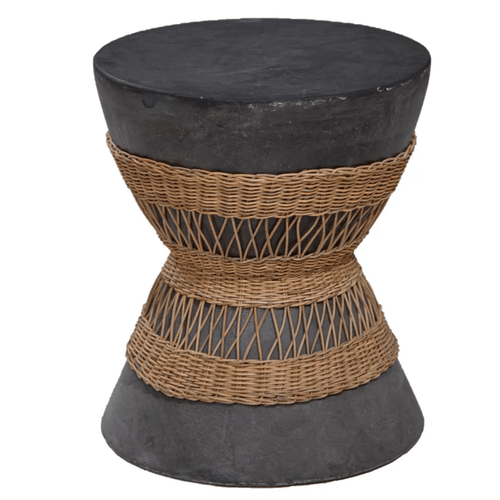 Vela Cement and Rattan Stool - Grey Low Stools and Benches Dianna-Lynn Decor