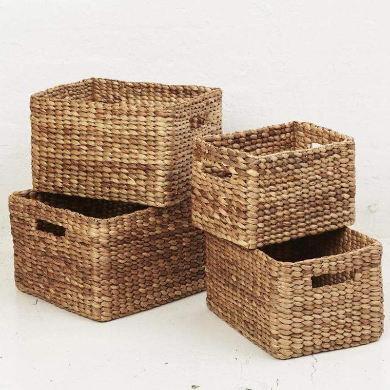 Water Hyacinth Rectangular Storage Baskets