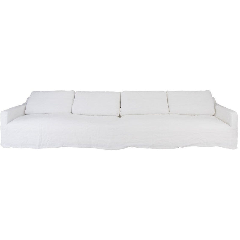 White 4 Seater Sofa with 100% Linen Slip Cover
