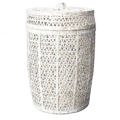 Whitewash Bamboo Laundry Basket with Lid Basketware Dianna-Lynn Decor
