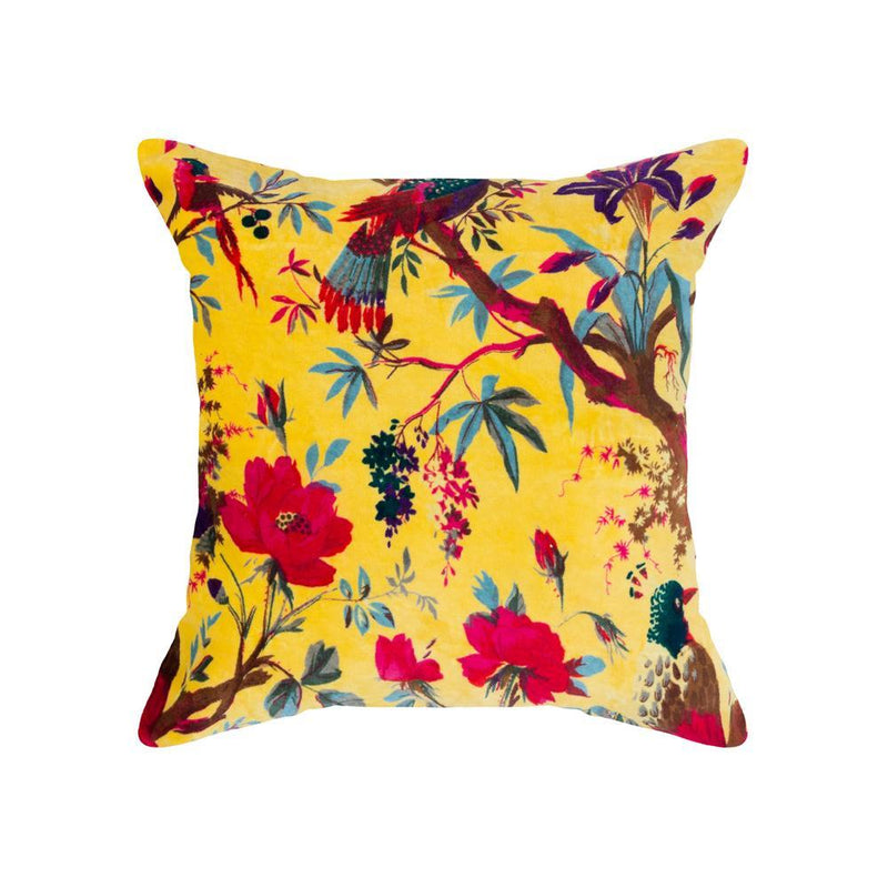 Yellow Velvet Bird of Paradise Cushion Cover - 45 x 45 CM