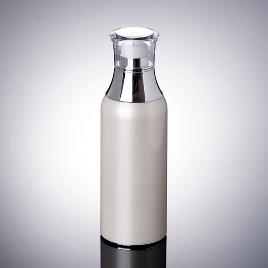 100ML pearl white airless bottle with silver collar and transparent lid-50pcs