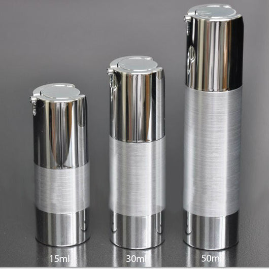 15ml UV silver airless vacuum pump lotion bottle 50 Pieces/Lot