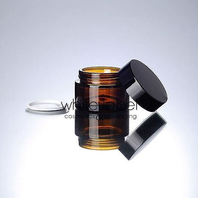 20G BROWN GLASS CREAM COSMETIC JAR BLACK LID WHOLESALE- NEW 50PCS/LOT