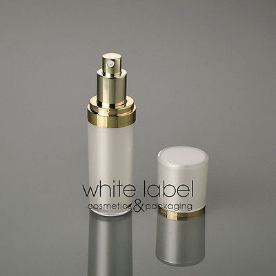 30ML PEARL/WHITE COSMETIC ACRYLIC CONE PRESS PUMP LOTION BOTTLE WITH GOLD -100PCS