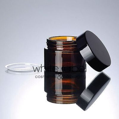 50G BROWN GLASS CREAM COSMETIC JAR BLACK LID WHOLESALE- 50PCS/LOT