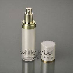 50ML WHITE COSMETIC ACRYLIC CONE PRESS PUMP LOTION BOTTLE WITH GOLD-NEW 100PCS