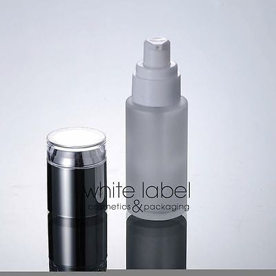 30ML FROSTED GLASS COSMETIC PUMP BOTTLES WHOLESALE/SILVER LID- 50PCS/LOT
