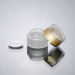 30G FROSTED GLASS COSMETIC CREAM JAR WITH GOLD LID WHOLESALE- 50PCS/LOT