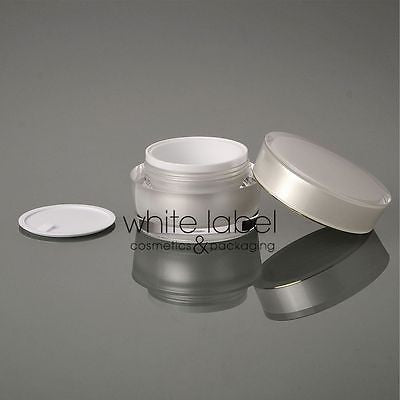 30G WHITE/PEARL COSMETIC ACRYLIC CONE SHAPE CREAM JAR WITH GOLD -100PCS/LOT