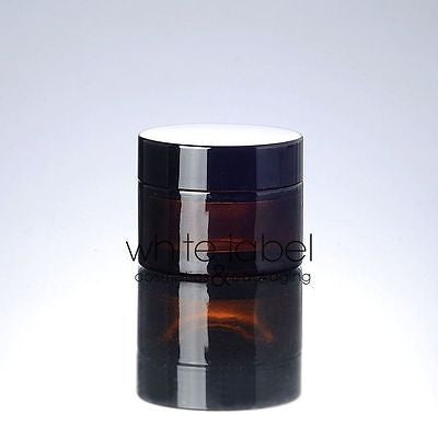 30G BROWN GLASS CREAM COSMETIC JAR BLACK LID WHOLESALE- 50PCS/LOT
