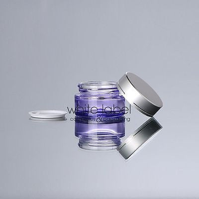20G PURPLE CLEAR GLASS CREAM COSMETIC JAR SILVER LID WHOLESALE- NEW 50PCS/LOT