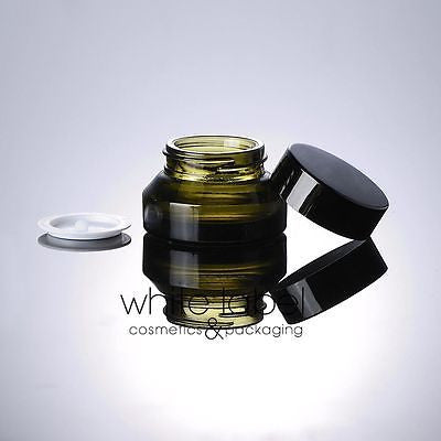 15G GREEN GLASS COSMETIC CREAM JAR WITH BLACK LID WHOLESALE- NEW 50PCS/LOT