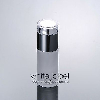 40ML FROSTED GLASS LOTION COSMETIC PUMP BOTTLE WHOLESALE SILVER LID-NEW50PCS/LOT