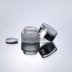 30G FROSTED GLASS COSMETIC CREAM JAR WITH SILVER LID WHOLESALE-50PCS/LOT