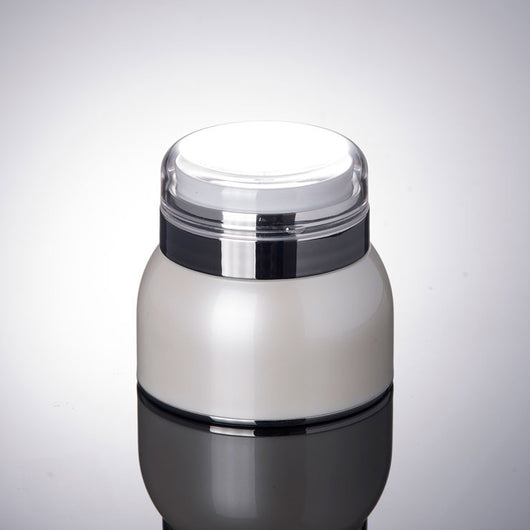 50G Pearl White Airless Jar With Silver Collar & Transparent Lid-50pcs