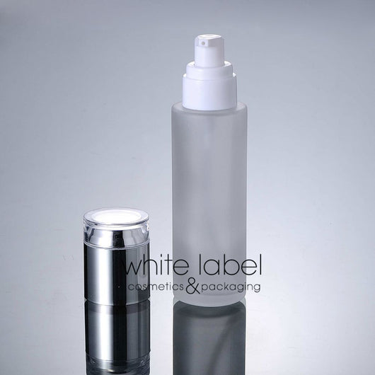 80ml Frosted Glass Bottle With Silver Cap (50pcs)