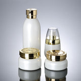 30ml white boutique glass lotion bottle with gold lid (50pcs)