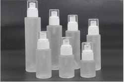 FROSTED GLASS WHITE COSMETIC PUMP BOTTLES (CONTACT US FOR PRICES)
