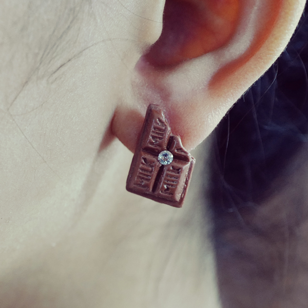 Bear with Me Chocolate with Swarovski Crystal - Single Earring - AMARE WEAR