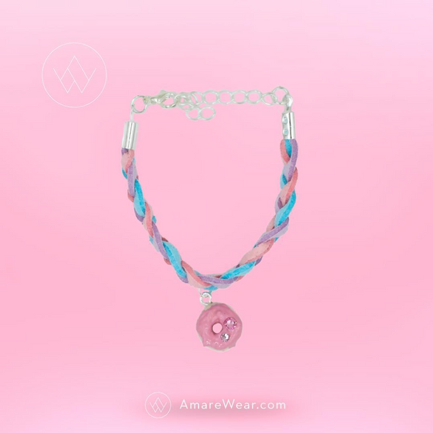 Braided Doughnut	 Bracelet - baby pink, baby blue, baby purple - AMARE WEAR
