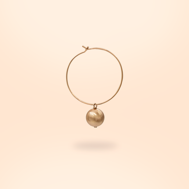 Amare Wear - Swarovski pearls 14k Rose Gold  14k Gold hoop earrings