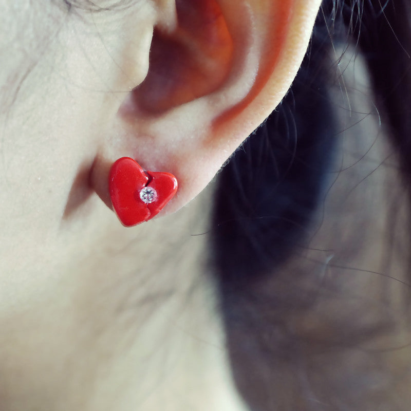 Love Aches Red III - Single Earring - AMARE WEAR