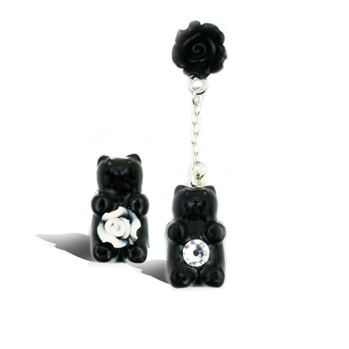 Bear With Me  - Noir - Dark Flower - A Pair of Earrings - AMARE WEAR
